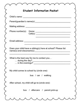 Back To School Info Packet
