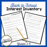 Back To School Interest Inventory -- A fun survey to get to know your students!