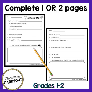 Back To School Interest Inventory - Primary - Get to Know Your Students!
