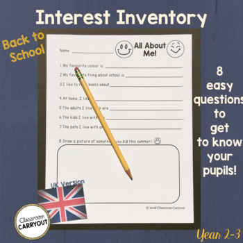 Back To School Interest Inventory - UK Version- Get to Know Your Students!