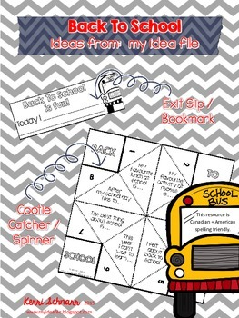 Back To School Is Fun!  cootie catcher and exit slip