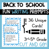 Back To School Journal Writing Prompts 4th 5th 6th grade Task Cards ELA