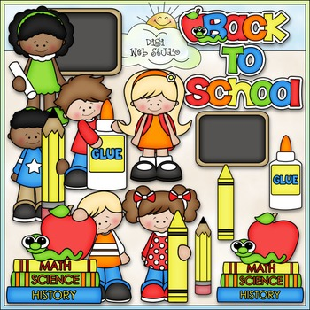 Back To School Kids - CU Clip Art & B&W Set