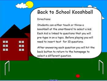 Back To School Kooshball Game for SMARTboard