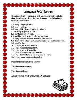 Back To School Language Arts Survey to Get to Know Your Students