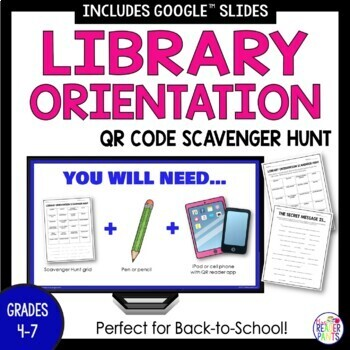 Back To School Library Orientation Scavenger Hunt with Secret Message
