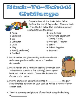 Back-To-School Library Reading Challenge