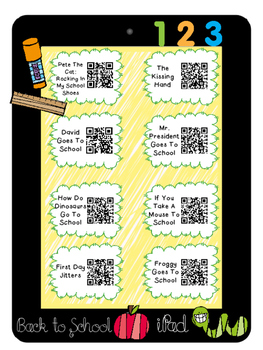 Back To School Listening Center-QR Codes-Blackline and Recording sheets Included
