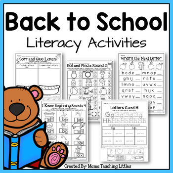 Back To School Literacy Activities - No Prep - Just Print
