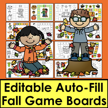 Fall Activities - Sight Words Game Boards-Set 1 - First 100 Dolch