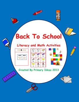 School Themed Literacy and Math Center Activities
