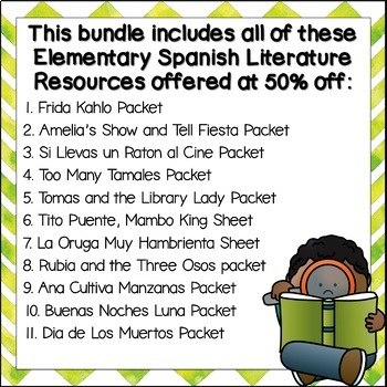 Bilingual Literature Activities Bundle *Growing* Spanish and English