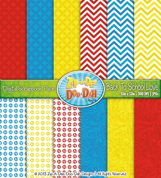 Back To School Love Digital Scrapbook Pack (12 Pages)