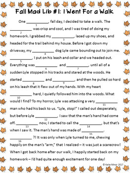 Fall Themed Mad Libs - Nouns, Verbs, and Adjectives