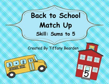 Back To School Match Up - Sums to 5