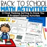 Math Back to School Activities | First Day of School Activities