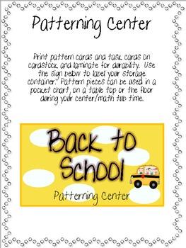 Back To School Math Center {Patterns}