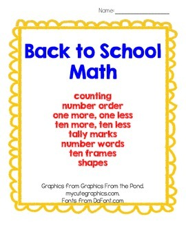 Back To School Math: Counting, Number Order, &More- Printables for PreK, K & 1st