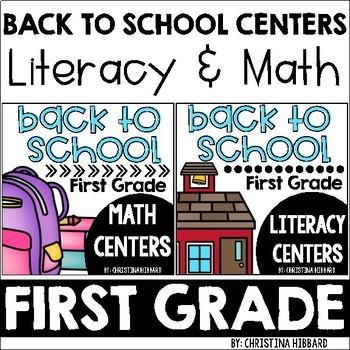Back To School First Grade Math & Literacy Centers Bundle