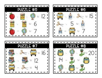 Back To School Math Logic Puzzles- Addition and Subtraction