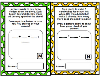 Back To School Math Word Problems - Addition - Subtraction - Special Education