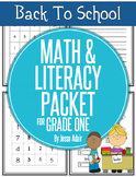 Back To School Math and Literacy Packet for Grade One JUST PRINT
