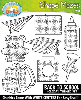 Back To School Shaped Mazes Clipart Set {Zip-A-Dee-Doo-Dah Designs}