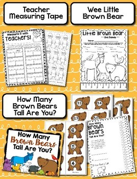 Back To School Measuring - Brown Bear Measuring Palooza Math Center Games