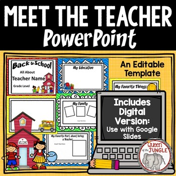 Back To School Meet The Teacher Editable Powerpoint Template Tpt