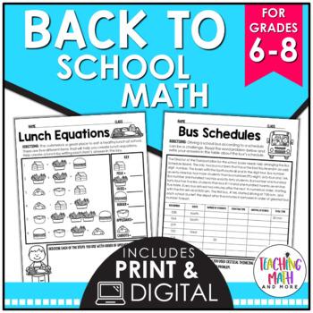 Back To School Middle School Math Activities
