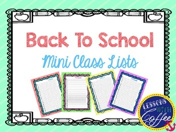 Back To School Mini Class Lists