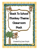 Back To School Monkey Theme Classroom Pack