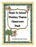 Back To School Monkey Theme Classroom Pack