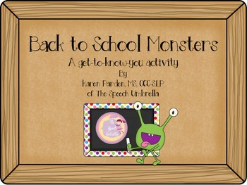 Back To School Monsters: Get to know you activity
