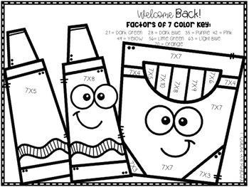 Back To School Multiplication 2-12 Color-By-Number