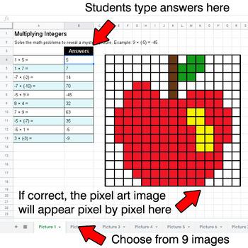 Back To School - Multiplying Integers - Google Sheets Pixel Art