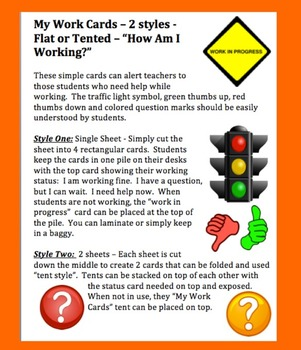 """My Work Cards - Self Assessment: """"How Am I Working?""""-2 Formats-Flat or Tented"""