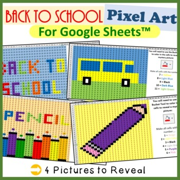 Back To School Mystery Pictures Fill Color, Numbers 1 - 29 for Google Sheets™