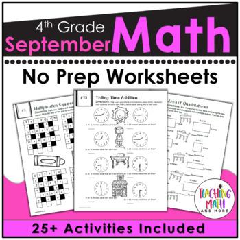 Back To School NO PREP Math Packet - 4th Grade
