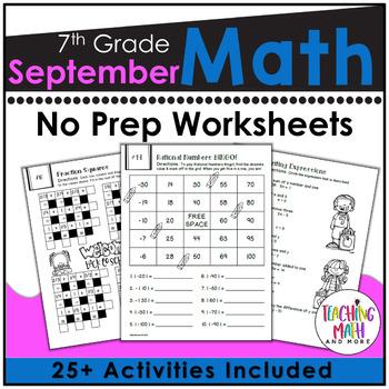 Back To School NO PREP Math Packet - 7th Grade