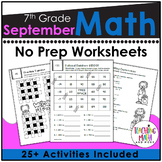 Back To School NO PREP Math Packet - 7th Grade