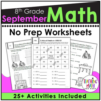 Back To School NO PREP Math Packet - 8th Grade