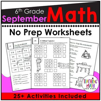 Back To School NO PREP Math Packet - 6th Grade