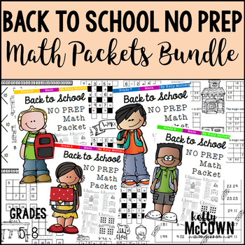 Back To School NO PREP Math Packets BUNDLE – Grades 5 to 8