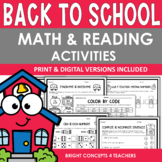 Back To School NO PREP Math & Reading Activities {Print &