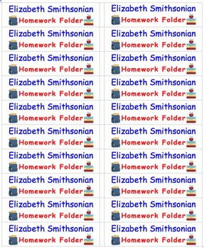 Back To School Name Labels for Homework Folders-Type Names-20 per page