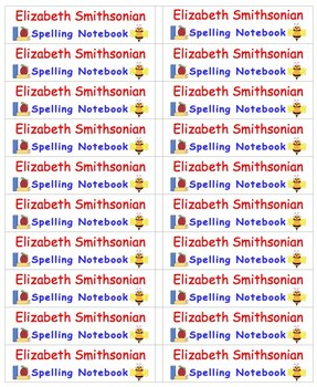 Back To School Name Labels for Spelling Notebooks-Type Names-20 per page