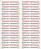Back To School Name Labels for Writer's Notebook-Type Names-20 per page