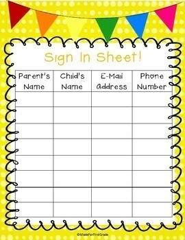 Back To School Night Forms: Open School Night Must Haves!
