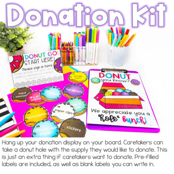 Back To School Night Forms and Signs Donut Theme